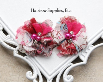 Floral Chiffon Flowers - Hot Pink - 2 inch Choose 1-24 Flowers - Wholesale Lot - Hairbow Supplies, Etc.