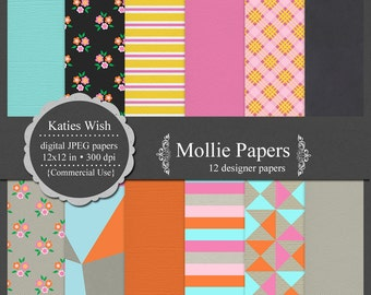 Commercial Use Digital Scrapbooking Papers Instant Download Mollie for invites, web design, invites