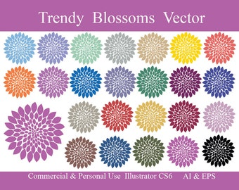 Designer Vector Blossoms Clip Art // Illustrator CS6 AI and EPS commercial use Cu