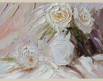 ORIGINAL Oil Painting fine art The One that got away 18x24 Palette Knife White Flower Bouquet Textured Vase Rose decor wall ART by Marchella