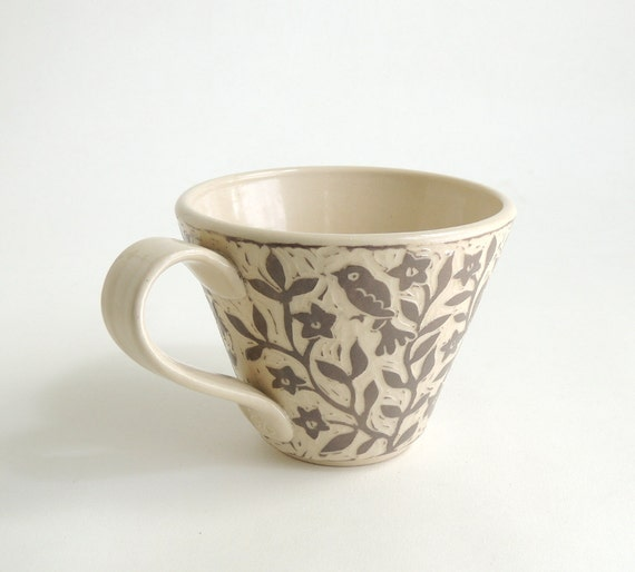 Taupe and White Hand Carved Cup with Flower Vines and birds