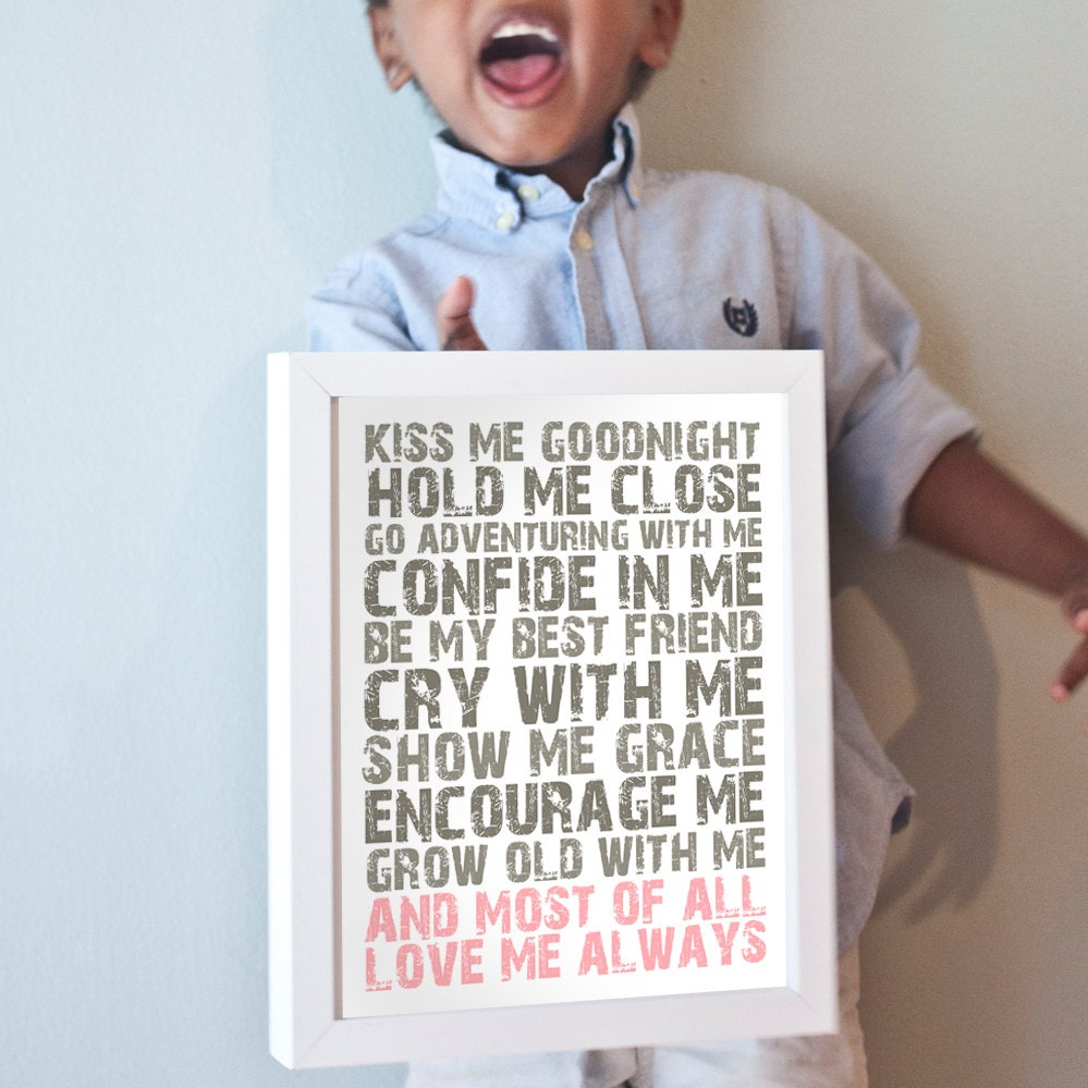 Love Me Always print in gray and pink