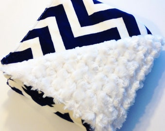 Navy Blue Chevron Minky Blanket - Nautical Blanket - Baby Blanket - Minky Blanket - Navy Blue Blanket - Stroller Blanket - Toddler Blanket