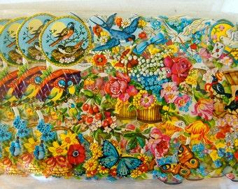 4 Sheets Victorian Birds & Flowers Die Cut Sheets German Embossed, Lot of 4 Sets