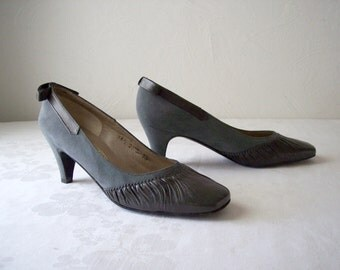 vintage graphite gray grey suede leather shoes - pumps - heels - size 5 1/2 B