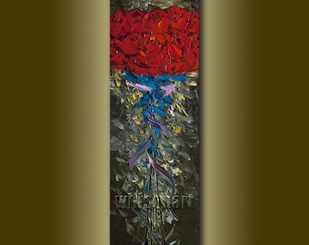 Red Roses Flower Oil Painting Textured Palette Knife Modern Floral Original Art 12X36 by Willson Lau