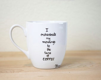 Quote Mug  Hand Painted cup Ceramic Coffee mug personalized  Mug Minimal Gift for  Coffee lovers
