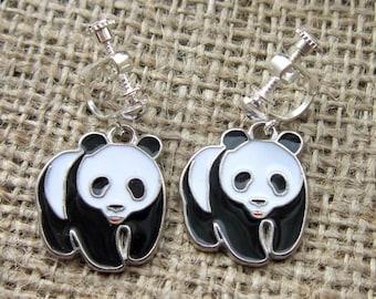Black and white Giant Panda silver clip on earrings - unpierced ears clips screws