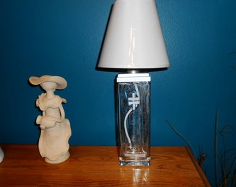 Recycled  Double Cross Vodka  Bottle Lamp accented White lamp shade by Kams-store.com