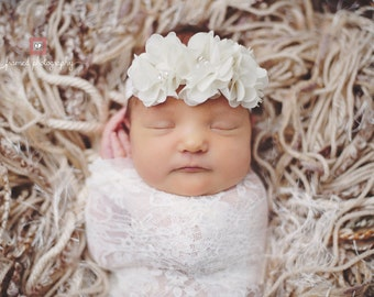 Ivory Baby Headband - Ivory Flower Headband - Newborn Headband - Baby Girl