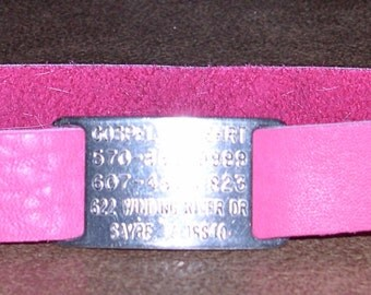 Leather Custom Tag Collar for Greyhounds - Hot Pink