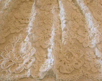 Ivory French Chantilly Lace Fabric with Pearls-One Yard