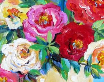 Polka Dot Roses 12 x 24  Still life Original Painting by Elaine Cory