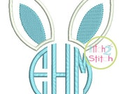 "Bunny Ears Monogram Applique Design For Machine Embroidery shown with our ""Natural Circle"" Font NOT Included  INSTANT DOWNLOAD now available"