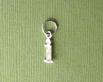 Sterling Silver Alphabet Letter i Initial Charm in Typewriter Style