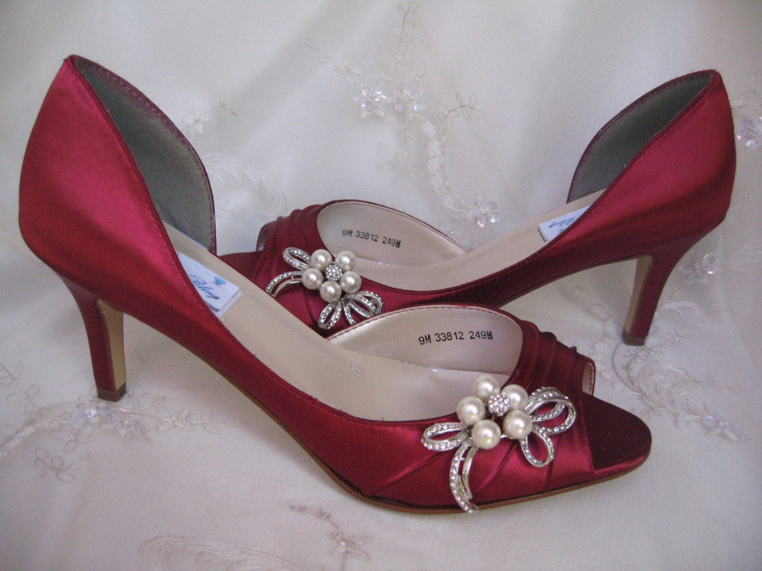 Wedding Shoes Red Bridal Shoes With Pearl And Crystal