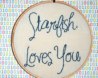 """Starfish Loves You  6"""" Embroidery"""