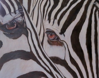 "Zebras wildlife horse animal oil painting original art large 24"" x 24"" x 2.5"" canvas by Sandra Cutrer Fine Art"