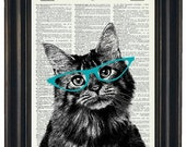 BOGO 1/2 OFF Sale Cat Print Art Upcycled Art Dictionary Page Print Cat with Teal Glasses Dictionary Art HHP Original