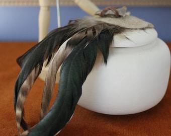Raku Indian Jar with Feathers