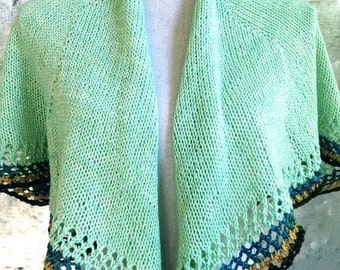 Hand Knit Crescent Shawl - Summer Wrap, Prayer Shawl, Scarf Mothers Day Gift