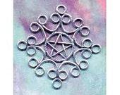 Large Filigree Lacework Pentacle Pentagram Sterling Silver Pendant  Pent142