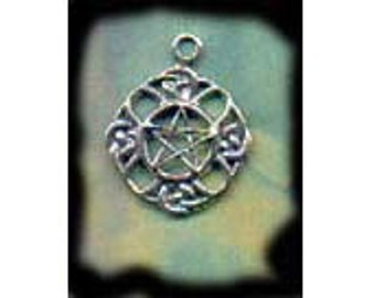 Pentacle in Celtic Knotwork Pendant Sterling Silver Wiccan Jewelry Pent140