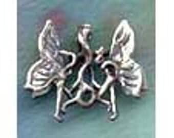 Pair of Dancing Fairies Pendant Sterling  Silver Fairy Jewelry FAY007