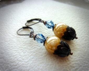 40% OFF SALE! -Golden Mottled Swarovski Pearls Denim Blue Swarovski Crystals Dark Antiqued BeadCap Earrings