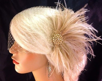 Fascinator, Wedding Bridal Fascinator, Bridal Fascinator, Feather Fascinator , Wedding Veil, Champagne, Gold-tone Brooch with Pearls