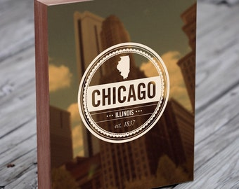 Chicago Art - Retro Insignia - Vintage Seal - Wood Block Wall Art Print - Chicago Art Print