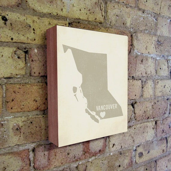 Vancouver Art Print - Canada Art - Vancouver Art - Vancouver Canada - I Love Vancouver - Wood Block Art Print