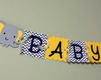 Yellow and Grey Chevron Baby Shower Banner -Elephant Baby Shower Banner - Bright Yellow Grey and White