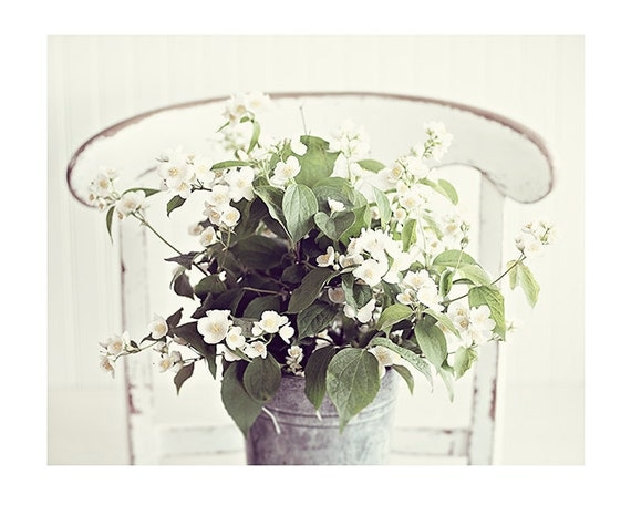 "Fine Art Photography, Nature Photography, Flowers, Cream, Ivory, Moss  Print, ""Summer Bouquet"""