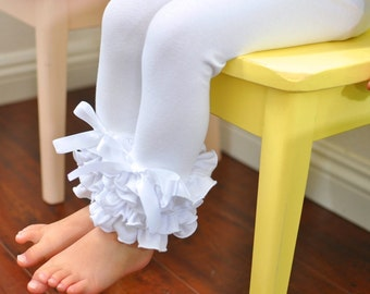 White Leggings with Full Ruffles / Toddler Girls Leggings---2T-5T