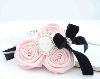 Couture Headband Small Paris with Tea Roses and Black Velvet Bow Posh with Cameo and Feather on Elastic Headband Baby Girls Headband