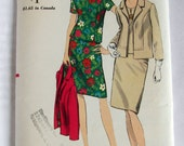 Vintage Two Piece Dress and Jacket Pattern Woman's size 20 1/2 Vogue 6984 circa 1960's