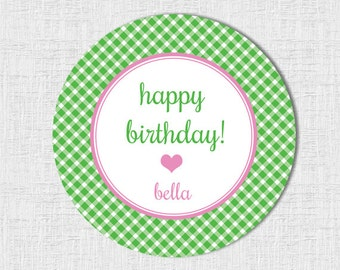 Birthday Stickers/Tags- Gingham