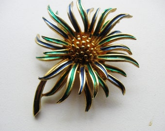 BOUCHER Flower Head Pin, Zinnia Enamel Brooch, Vintage Designer Pin