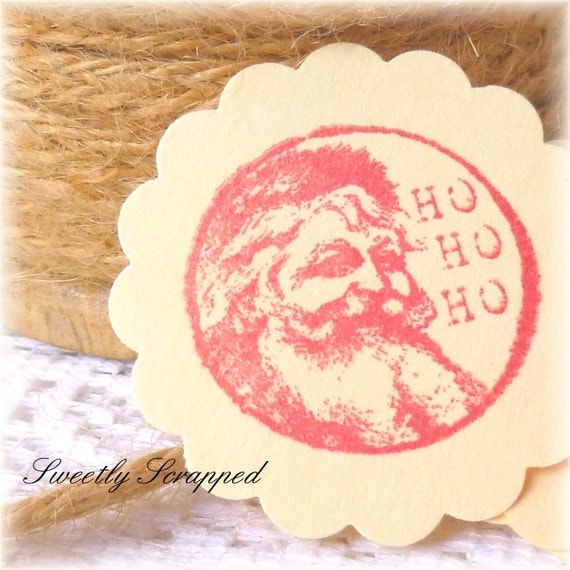 Santa Embellishments, Pocket Letters,  Scrapbooking and Cardmaking Supplies, Red, Vintage Inspired