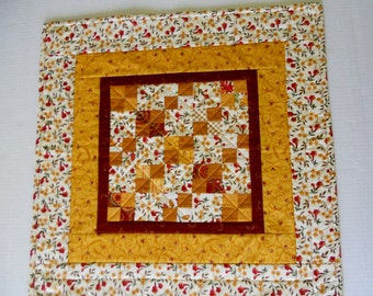 Primitive Quilted Table Topper in Fall Autumn Colors, Country Quilted Table Runner, Thanksgiving Table Topper, Farmhouse Table Quilt