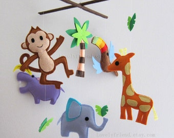 "Baby Crib Mobile - Baby Mobile - Baby Boy Nursery Mobile - ""Flying Toco Toucan"" (Pick your color)"