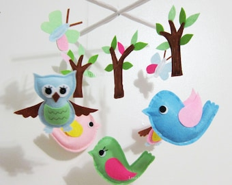 Baby Mobile - trees and butterflies crib mobile - butterflies and birds theme decorate mobile - owls and butterfly nursery mobile