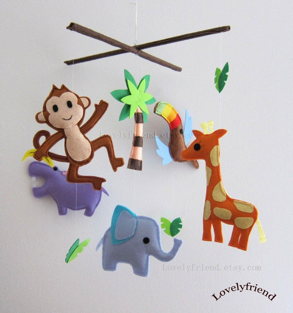 """Baby Crib Mobile - Baby Mobile - Baby Boy Nursery Mobile - """"Flying Toco Toucan"""" (Pick your color)"""