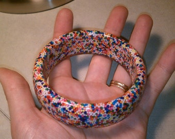 Candyland Real Candy Sprinkles Rainbow Nonpareils Handcast Resin Bangle Bracelet - MADE TO ORDER