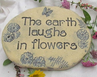 The earth laughs in flowers.  Handmade Terracotta Garden Stone. Butterfly garden, Gardening gift. Unique Handmade art tile. Solid Brick