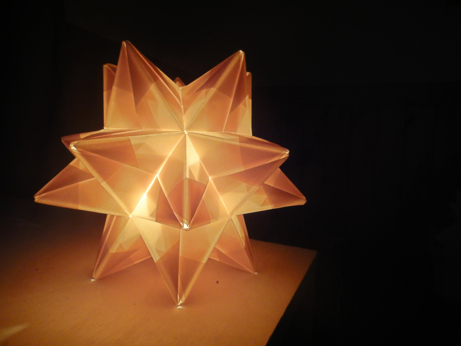 metallic gold origami paper modular star lamp handmade in