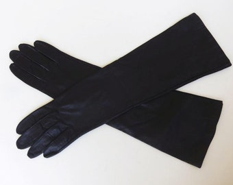 Vintage 60s Gloves Women's Black Leather Mid to Elbow Length Miss Aris Size 6 Like New
