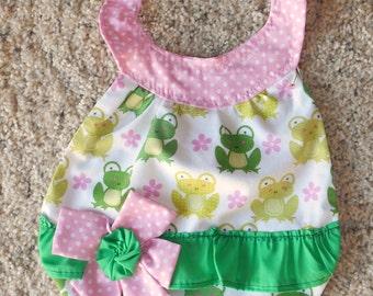 Frogs Flowered Baby Bib