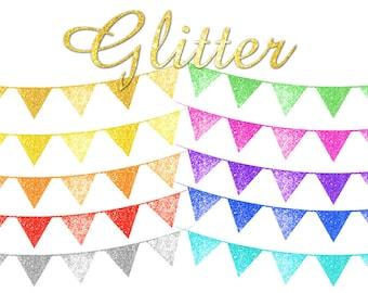 Glitter bunting clipart Bunting clip art Glitter clipart Digital glitter Bunting graphic bunting png Digital clipart  digital png